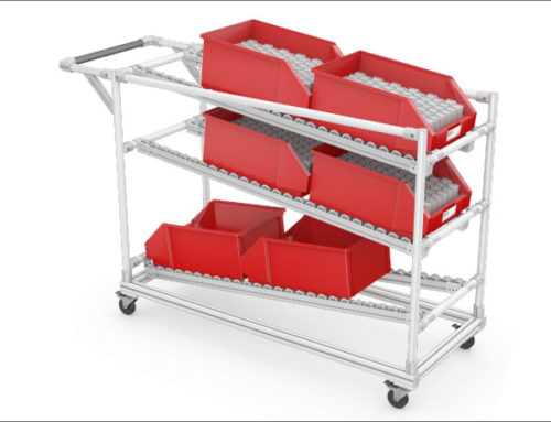 Maneuverable transport trolley with FIFO function for easy removal