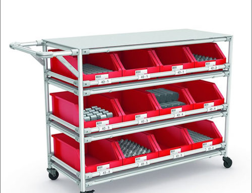 Practical hand trolley with working surface and storage levels