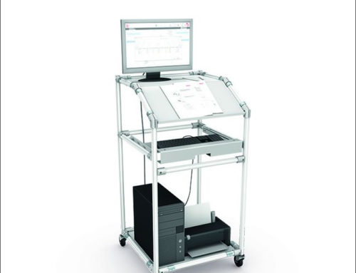 Mobile standing desk with complete computer workstation